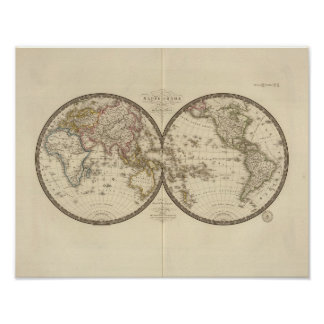 Globe into two hemispheres poster