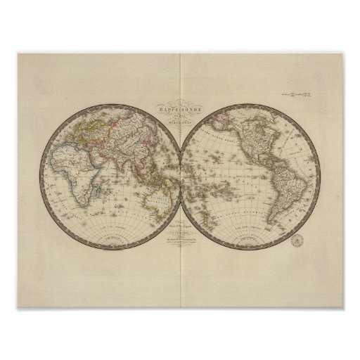 Globe into two hemispheres posters