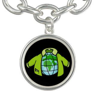 Globe Jacket Cartoon illustration of earth globe p Charm Bracelets