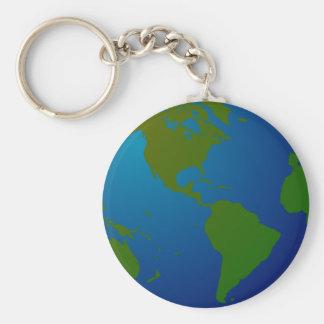 Globe Keychain Basic Round Button Keychain
