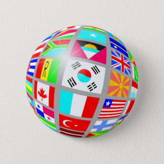 Globe of Flags 2 Inch Round Button