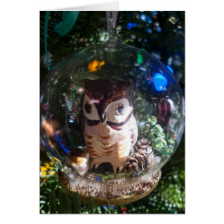 Globe Owl Ornament Card
