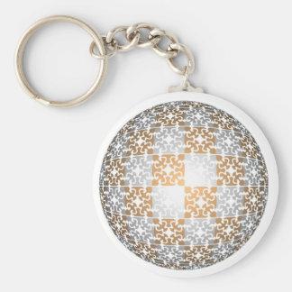 Globe pattern basic round button keychain