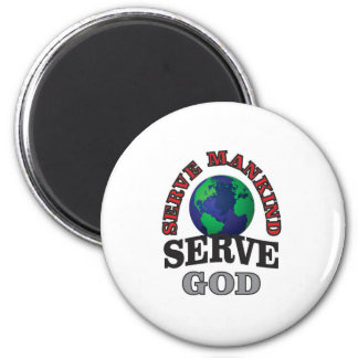 globe serve god and mankind 2 inch round magnet