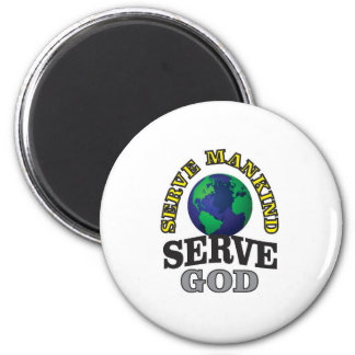 globe service to god and man 2 inch round magnet
