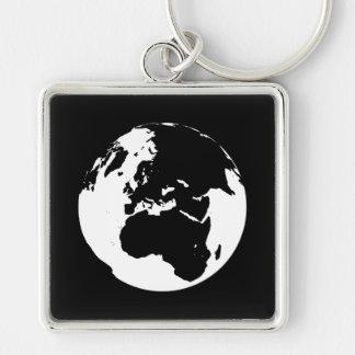 Globe Silver-Colored Square Keychain