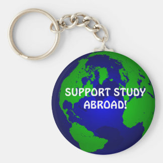 globe, SUPPORT STUDY ABROAD! Basic Round Button Keychain
