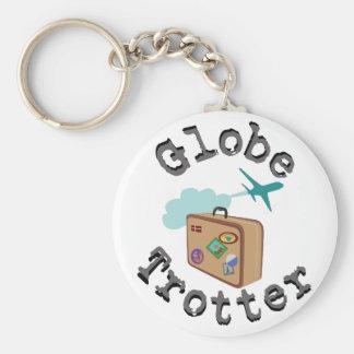 Globe Trotter Basic Round Button Keychain