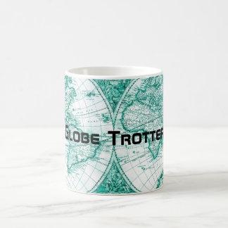 Globe Trotter World Map Vintage Green Coffee Mug