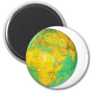 Globe with planet earth isolated on white 2 inch round magnet