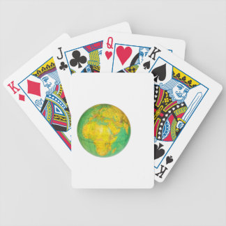 Globe with planet earth isolated on white bicycle playing cards
