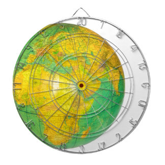 Globe with planet earth isolated on white dartboard