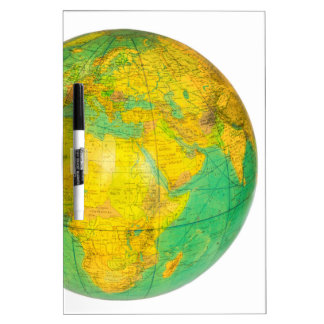 Globe with planet earth isolated on white dry erase board