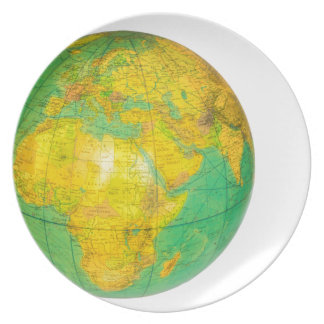 Globe with planet earth isolated on white party plate