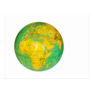 Globe with planet earth isolated on white postcard