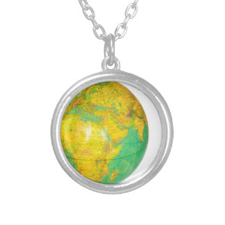 Globe with planet earth isolated on white silver plated necklace