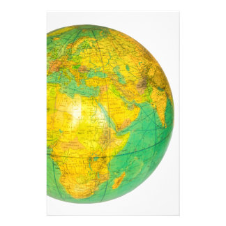 Globe with planet earth isolated on white stationery