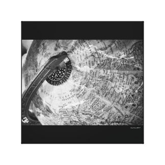 Globe world map xildxhild canvas photography b&w