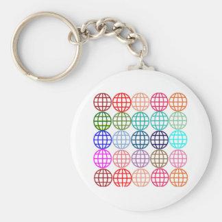 Globes Round Circles Basic Round Button Keychain