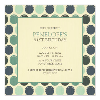 Gloomy Ocean Adult Polka Dot Birthday Invitations