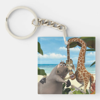Gloria and Melman Hand Holding Double-Sided Square Acrylic Keychain
