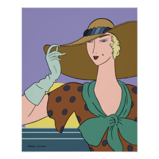 Gloria in Teal and Periwinkle Poster