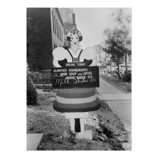 Glorified Hamburgers Advertising Sign - 1938 Poster