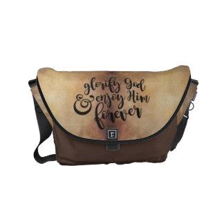 """Glorify & Enjoy God"" Coffee-Brown Courier Bag"