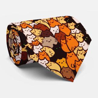 Glorious cats pattern .. Kawaii doodle art Tie