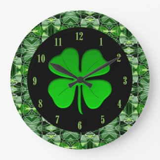 Glorious Green Abstract Pattern Shamrock Clock