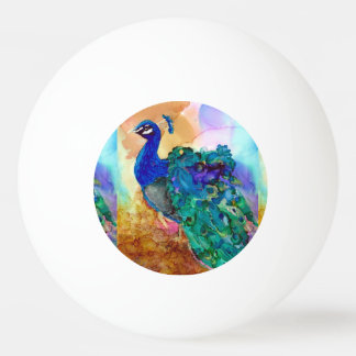 Glorious Peacock Alcohol Ink Ping Pong Ball