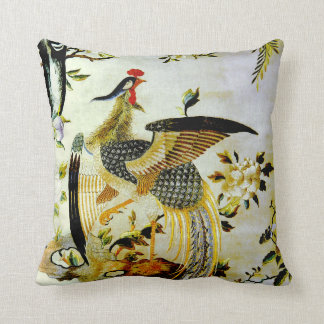 Glorious phoenix antique Chinese embroidery Throw Pillow