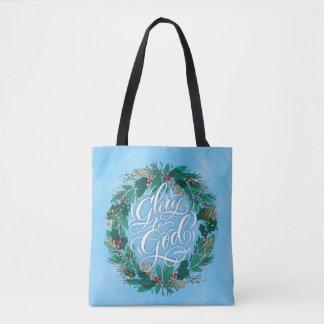 Glory to God Wreath | Christmas Tote Bag