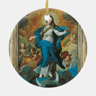 Glory to the Annunciation Round Ceramic Ornament