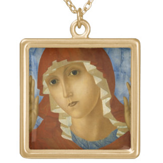 GLORY TO THE BLESSED VIRGIN MARY GOLD PLATED NECKLACE