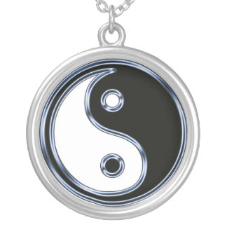 Gloss Yin Yang Silver Plated Necklace