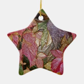 Glossy autumn leaves, Wax-Look 001.1 Ceramic Star Ornament