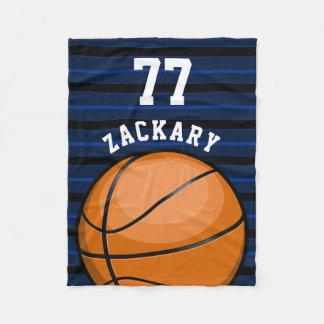 Glossy BasketBall Themed Blue Fleece Blanket