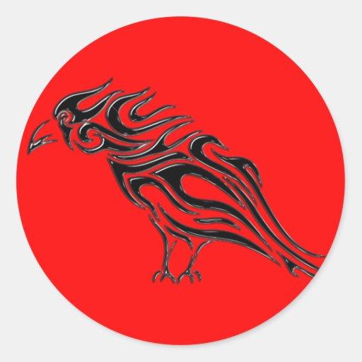 Glossy Black Raven Tattoo Round Sticker
