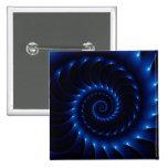 Glossy Blue Spiral Fractal Button