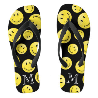 Glossy Classic Yellow Happy Face Flip Flops
