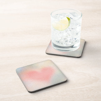 Glossy Glass pastel color heart Coasters