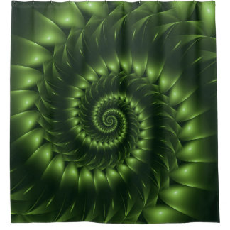 Glossy Green Spiral Fractal Shower Curtain