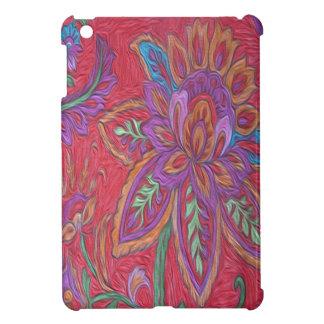 Glossy iPad Mini case red flower