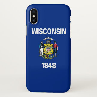 Glossy iPhone Case with Flag of Wisconsin State