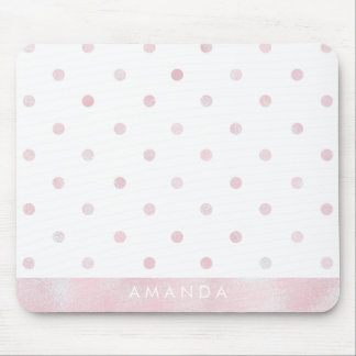 Glossy pink POLKA DOTS PERSONALIZE ADD YOUR NAME Mouse Pad