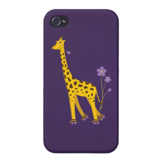 Glossy Purple Cute Skating Cartoon Giraffe iPhone 4 Cover