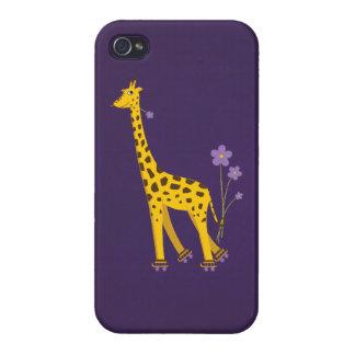 Glossy Purple Cute Skating Cartoon Giraffe iPhone 4 Cover