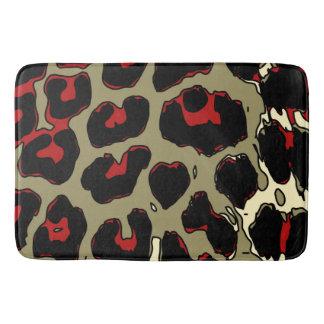 Glossy Red Black Cheetah Bathroom Mat