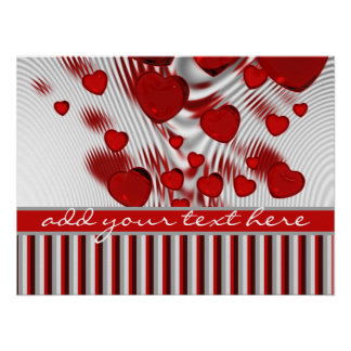 Glossy Red Hearts Silver Liquid Swirl Gray Stripes Poster
